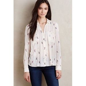 Anthropologie Maeve Ski Print Button Up Blouse
